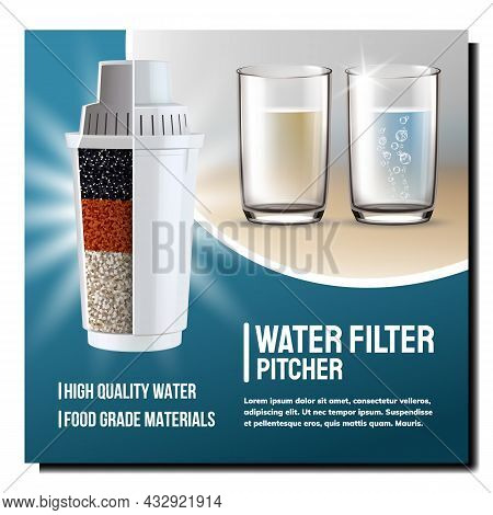 Water Filter Pitcher Cartridge Promo Poster Vector. Water Filter Equipment With Different Layers For