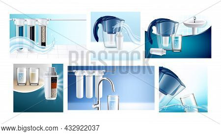 Water Filter Creative Promotion Posters Set Vector. Water Filter Cartridge And Jug, Home Filtration