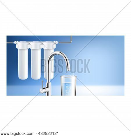 Home Water Filter System Promotion Banner Vector. Water Filter Cartridges, Kitchen Faucet And Glass