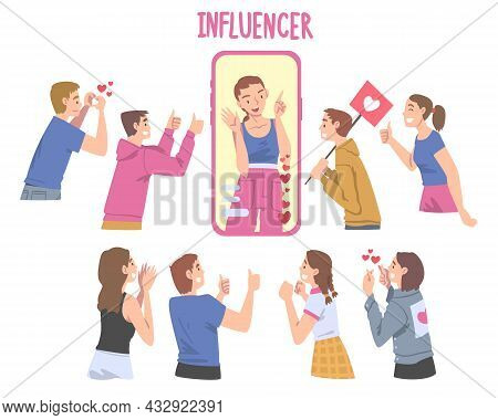 Woman Influencer As Social Media User With Numerous Audience And Subscribers Following And Listening
