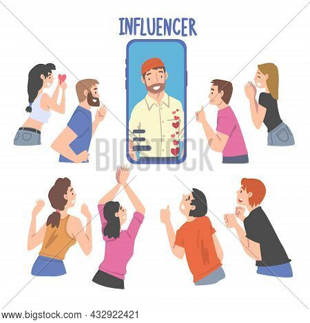 Man Influencer As Social Media User With Numerous Audience And Subscribers Following And Listening H