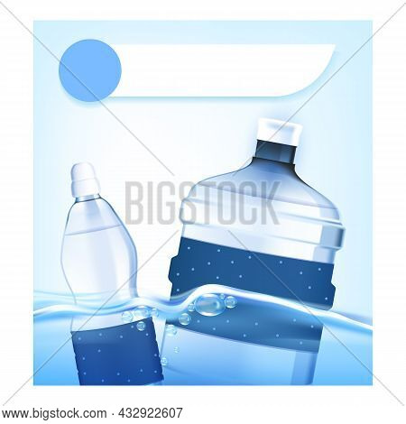 Drinking Water For Kids Promotional Poster Vector. Drinking Water For Children Blank Bottles And Bev