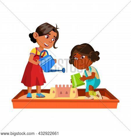 Girls Children Building Castle In Sandbox Vector. Hispanic And African Multiracial Ladies Kids Build