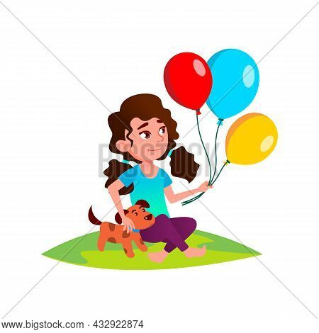 Kid Girl Playing With Balloons And Dog Pet Vector. Caucasian Preteen Lady Sitting On Grass In Park A