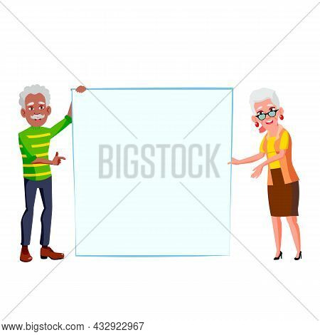 Man And Woman Pensioner Hold Blank Banner Vector. African Aged Grandfather And Caucasian Grandmother