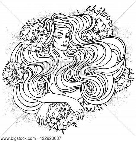 Tribal Fusion Boho Diva. Beautiful Divine Girl With Peonies. Bohemian Goddess. Hand Drawn Illustrati