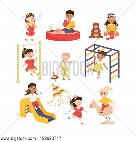 Smiling Children Playing And Having Fun Blowing Soap Bubbles, Sliding And Riding Carrousel Vector Se