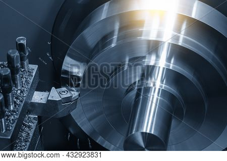 The Lathe Machine Finishing Cut The Metal Parts By Lathe Tools. The Metalworking Process By Turning