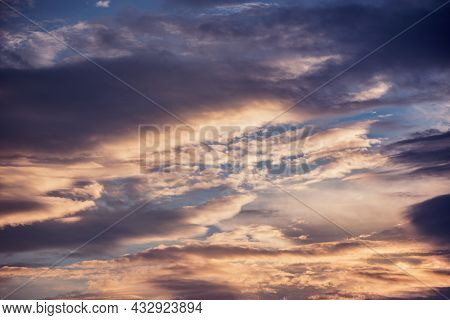 Amazing Cloudscape On The Sky At Sunset Time.
