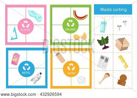 Garbage Sorting Educational Children Game. Match Trash With Bin Sorter Activity For Kids