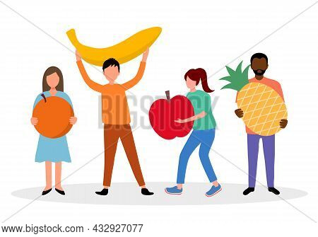 Eating Fruits For A Good Health Concept Vector Illustration. People Holding Orange, Banana, Apple An