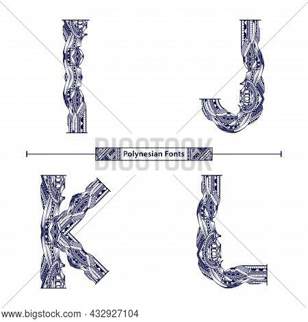 Vector Graphic Alphabet In A Set I,j,k,l, With Polynesian Tattoo Ethnic Tribal Font Style