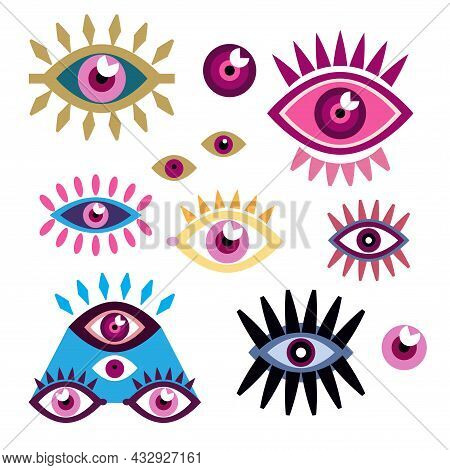 Colection Different  With Esoteric Eye Different Shapes .  Hamsa Eye, Magical Eye, Esoteric, Sacred