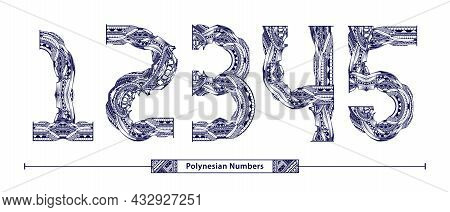 Vector Graphic Alphabet In A Set 1,2,3,4,5, With Polynesian Tattoo Ethnic Tribal Numbers Style