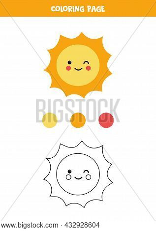 Coloring Page With Cute Sun. Worksheet For Children.