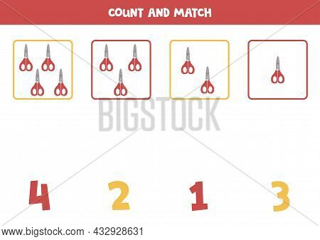 Count Red Scissors And Match With Correct Numbers. Math Game For Kids.