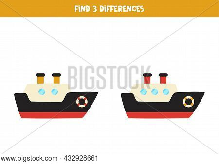 Find Three Differences Between Two Pictures Of Ship.