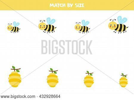 Match Bees And Beehives By Size. Educational Logical Game For Kids.