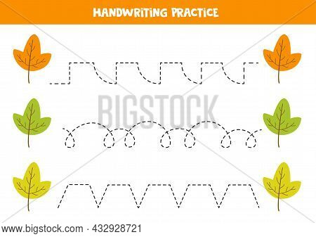 Tracing Lines For Kids With Colorful Leaves. Handwriting Practice.