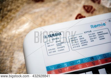 Paris, France - Sep 8, 2021: Logotype Of Yamaha On Remie Digital Keyboard Pss-e30 For Kids With Mult