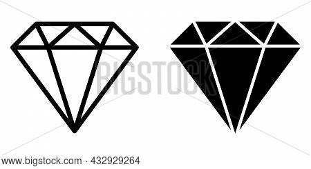 Diamond Icon And Diamond Outline Icon. Vector Illustration Isolated On White Background