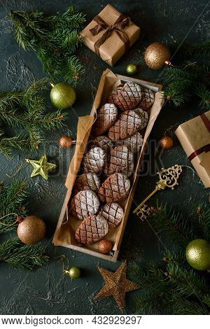 Christmas Gingerbread Cone Cookies With Christmas Decorations. New Year And Christmas Celebration Co