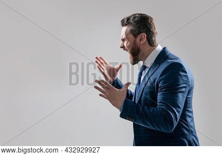 Distressful Experience. Angry Boss Scream Making Wide Gesture. Professional Man Scream In Anger