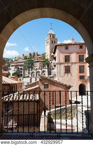 Picturesque View Of Albarracin Framed By An Arch. Teruel, Aragon, Spain, Europe