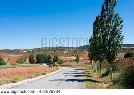 Summer Landscape Near Teruel. Re Fields With Crops, A Road To The Mountains And Trees Along The Road