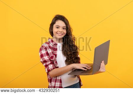 Typing School Blog On Computer. Kid On Video Lesson. Teen Girl Use Laptop For Blogging.