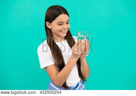 Happy Kid Going To Drink Glass Of Water To Stay Hydrated And Keep Daily Water Balance, Hydration.