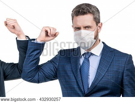 Man Manager In Mask Use Coronavirus Greeting Touching Elbows With Colleague, Elbow Bumping