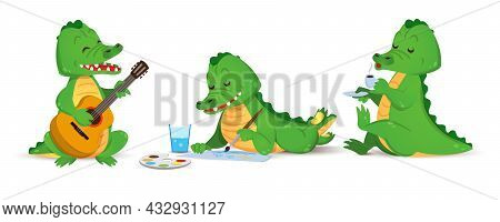 A Cute Green Crocodile Plays The Guitar, Draws And Drinks Coffee. A Set Of Figurines Of Individual A