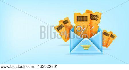 3d Vector Discount Coupon Illustration, Online Event Ticket Gift, Smm Bonus Voucher Newsletter Banne