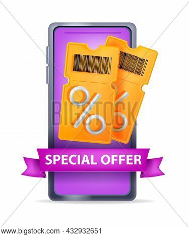 3d Discount Coupon Vector Illustration, Voucher Gift Ticket, Smartphone Screen, Special Offer Ribbon