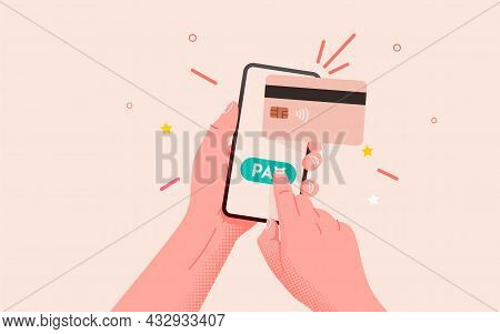 Mobile Banking App And E-payment. Hand With Smartphone And Pay By Credit Card Via Electronic Wallet