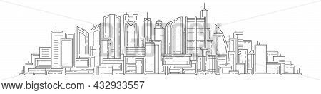 Linear Cityscape .architecture Panoramic Landscape.drawing Of Skyscrapers, Buildings.vector Illustra