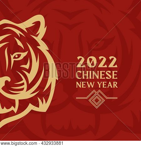 Happy New Year 2022 Greeting Card Template. Golden Tiger Face Chinese Zodiac Sign On Red Background.