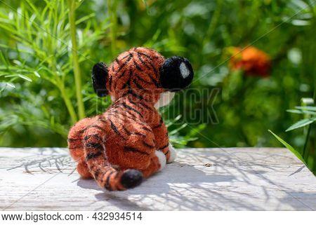 Cute Funny Little Toy Handmade Woolen Tiger, Felting From Wool, Rear View