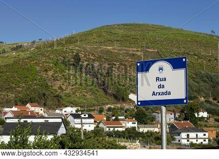 Unhais Da Serra, Castelo Branco, Portugal- August 21, 2021. Street Name Sign
