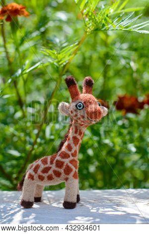 Cute Funny Little Toy Handmade Woolen Giraffe, Felting From Wool