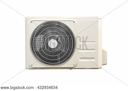 Condensing Unit Of Air Conditioning Systems Isolated On White With Clipping Path. Condensing Unit In