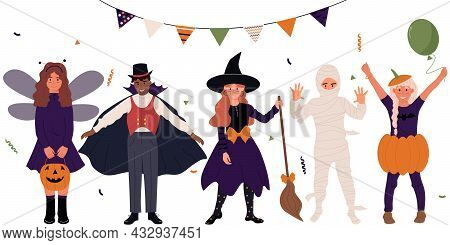 Set Of Cute Cartoon Girls And Boys Dressed In Costumes For A Halloween Party.halloween Kids.happy Ha