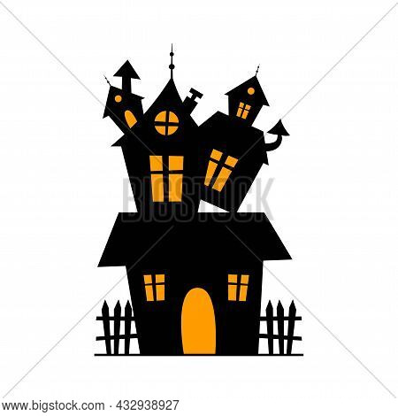 The Silhouette Of The House. A Haunted Castle In A Cartoon Style. The Halloween Holiday