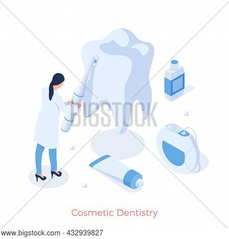 Cosmetic Aesthetic Dentistry. Whitening Teeth And Prevention Of Gums And Enamel. Elimination Of Chip