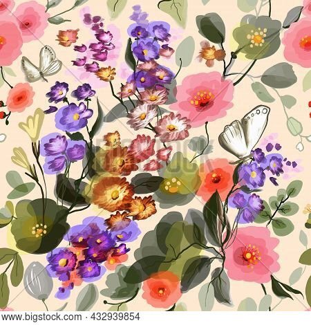 Floral Seamless Patterns With Blooming Meadows, Garden Flowers. The Motifs Of Tropical Botany Are Sc