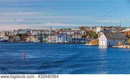 Kristiansund Norway. Coastal Norwegian Town View On A Sunny Day, Seaside