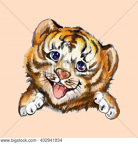 Tiger Head. Hand-painted Watercolor Style, Black Ink Line Art On Beige. Young Predatory Wild Cat. Cu