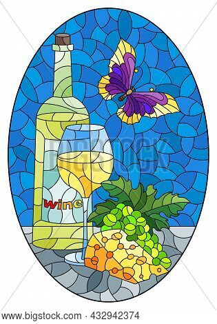 An Illustration In The Style Of A Stained Glass Window With A Still Life With A Bottle Of Wine, Chee
