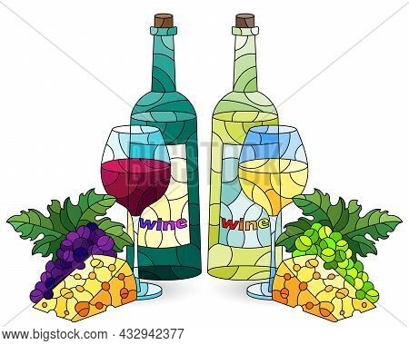A Set Of Illustrations In The Style Of Stained Glass With Still Lifes, Bottles Of Wine, Cheese And G